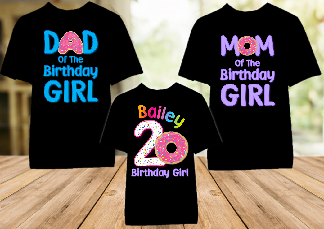 Donut Grow Up Birthday Party Personalized Color T Shirt - 3 Pack - DOC3P
