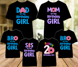 Donut Grow Up Birthday Party Personalized Color T Shirt - 6 Pack - DOC6P