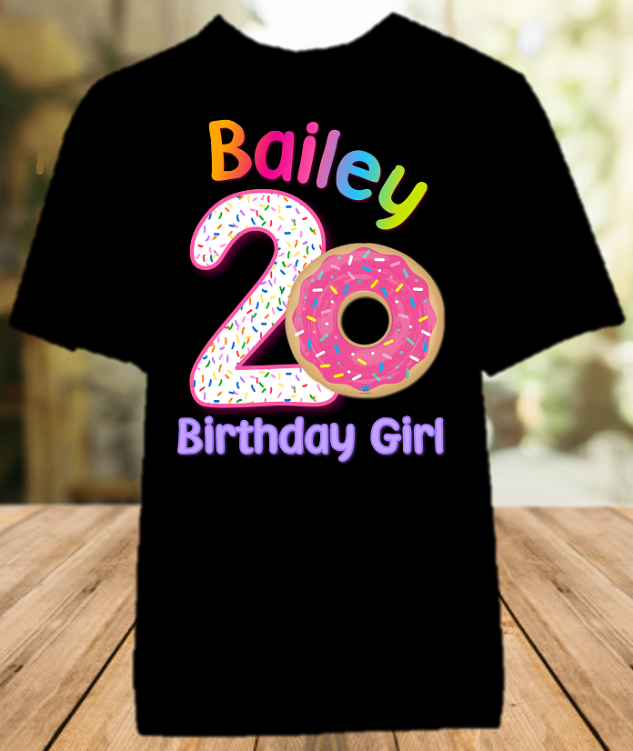Donut Grow Up Birthday Party Personalized Color T Shirt - All Sizes - DOCS1
