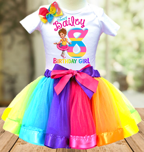 Fancy Nancy Birthday Party Personalized Ribbon Tutu Outfit - All Sizes - FNTO02