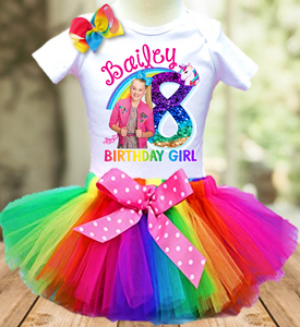 Jojo Siwa Blue Bow Birthday Party Personalized Tutu Outfit - All Sizes Available - JFTO1