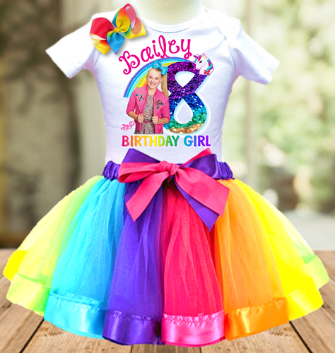 Jojo Siwa Blue Bow Birthday Party Personalized Ribbon Tutu Outfit - All Sizes Available - JTO1