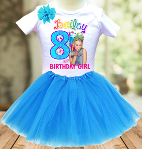 Jojo Siwa Green Bow Birthday Party Personalized Layer Tutu Outfit - All Sizes Available - JTO2A