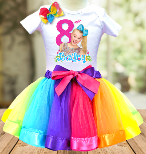Jojo Siwa Birthday Party Personalized Ribbon Tutu Outfit - All Sizes Available - JTO3