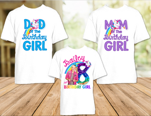Jojo Siwa Blue Bow Birthday Party Personalized T Shirt or Onesie - 3 Pack - JS3P1