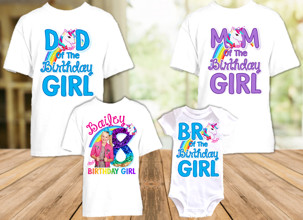 Jojo Siwa Blue Bow Birthday Party Personalized T Shirt or Onesie - 4 Pack - JS4P1