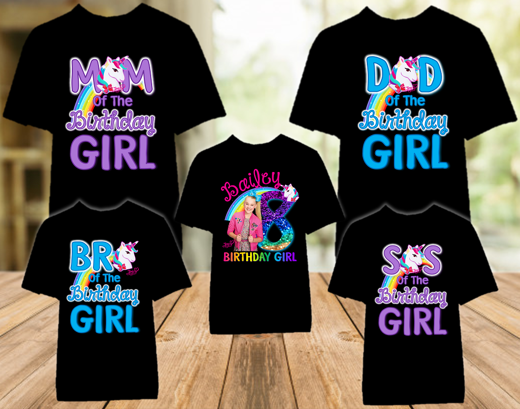 Jojo Siwa Blue Bow Birthday Party Personalized Color T Shirt - 5 Pack - JSC5P1