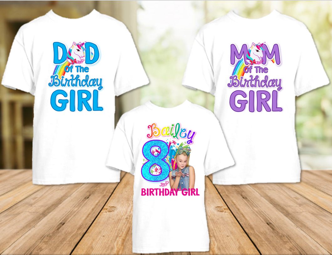 Jojo Siwa Green Bow Birthday Party Personalized T Shirt or Onesie - 3 Pack - JS3P2