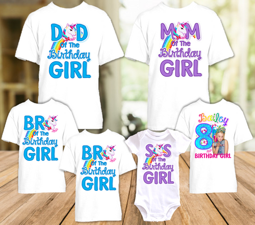 Jojo Siwa Green Bow Birthday Party Personalized T Shirt or Onesie - 6 Pack - JS6P2