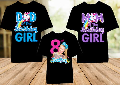 Jojo Siwa Birthday Party Personalized Color T Shirt - 3 Pack - JSC3P