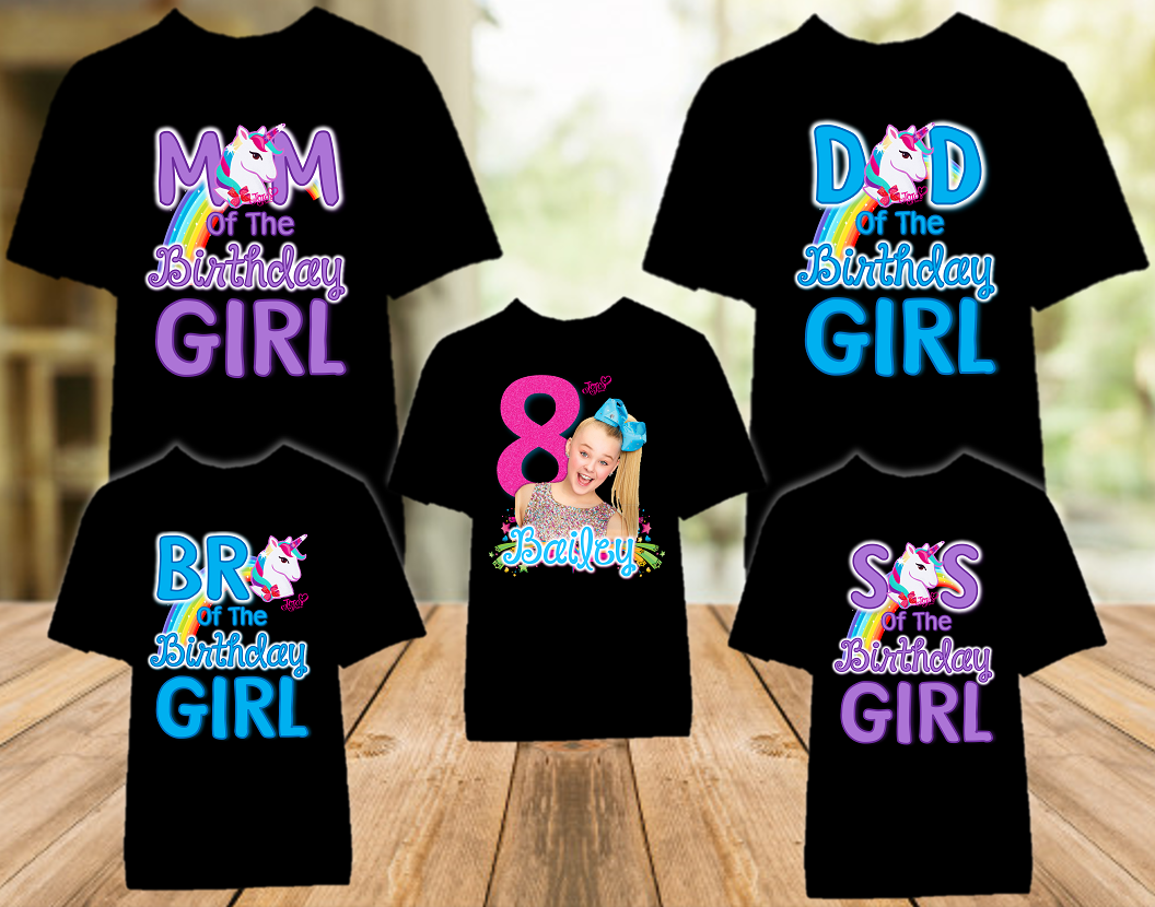 Jojo Siwa Birthday Party Personalized Color T Shirt - 5 Pack - JSC5P