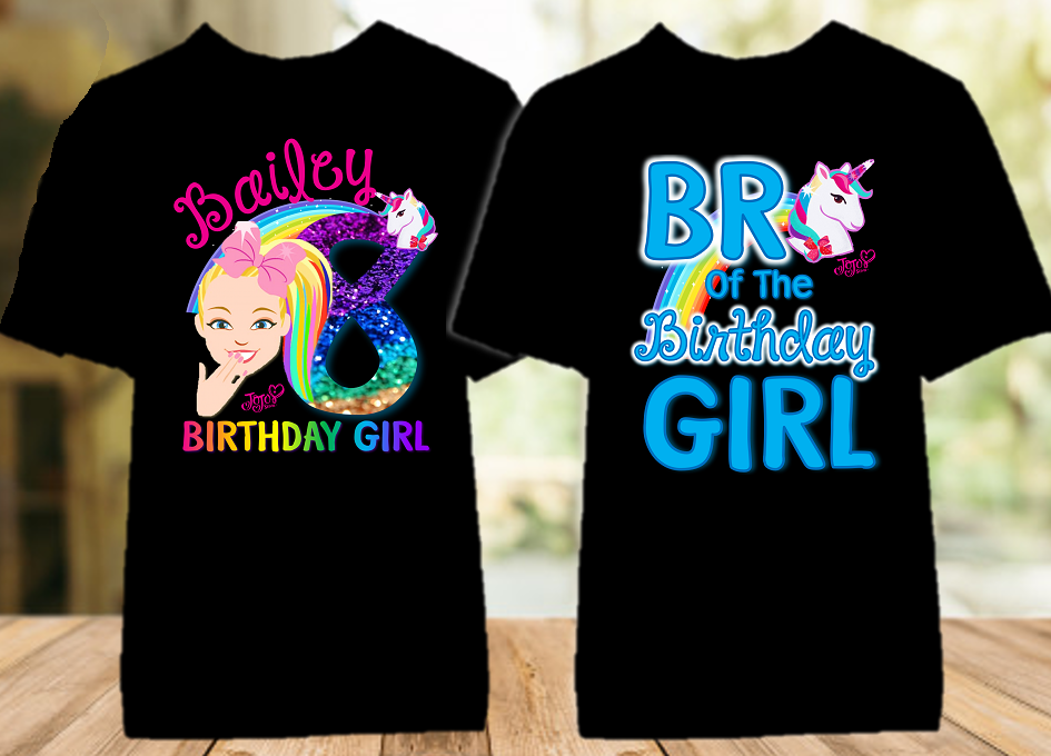 Jojo Siwa Face Birthday Party Personalized Color T Shirt - 2 Pack - JSFC2P