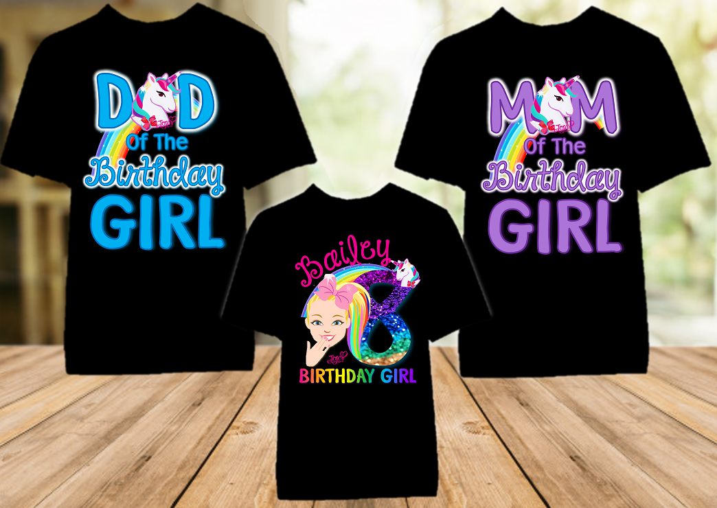 Jojo Siwa Face Birthday Party Personalized Color T Shirt - 3 Pack - JSFC3P