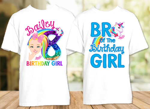 Jojo Siwa Face Birthday Party Personalized T Shirt or Onesie - 2 Pack - JSF2P