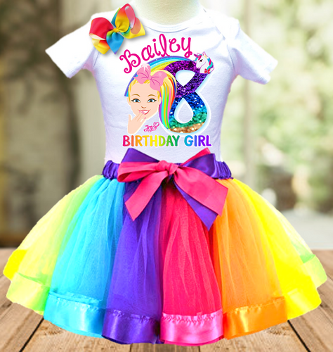 Jojo Siwa Face Birthday Party Personalized Ribbon Tutu Outfit - All Sizes - JFTO02