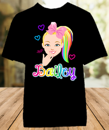 Jojo Siwa Face Party Personalized Color T Shirt - All Sizes - JSFPCS1