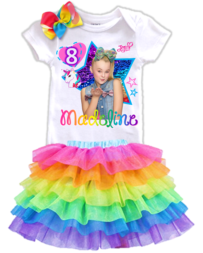 Jojo Siwa Green Bow Birthday Party Personalized Rainbow Tutu Outfit - All Sizes - JSGRUFFLETO01