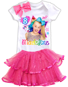 Jojo Siwa Blue Bow Birthday Party Personalized Glitter Tutu Outfit - All Sizes - JSBTIERTO01