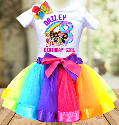 Legoland Lego Friends Birthday Party Personalized Ribbon Tutu Outfit - All Sizes Available - LFTO01