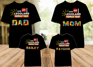 Legoland Logo Lego Family Vacation Trip Personalized Color T Shirt - 4 Pack - LLVC4P