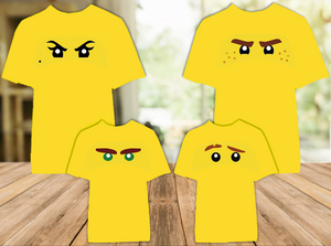 Legoland Lego Ninjago Ninja Face Eyes Color T Shirt - 4 Pack - LNFC4P