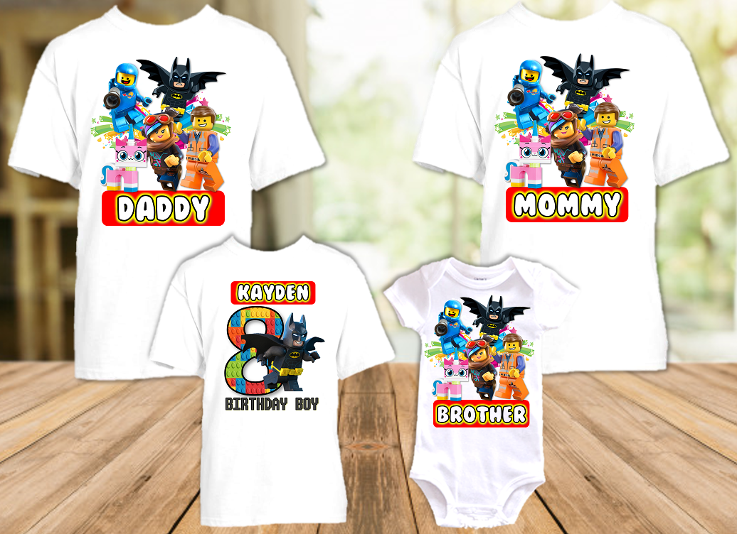 Legoland Lego Movie Batman Birthday Party Personalized T Shirt or Onesie - 4 Pack - LMBA4P