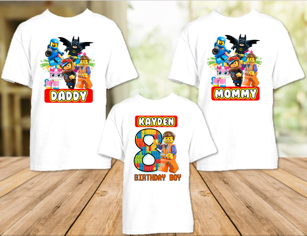 Legoland Lego Movie Emmet Birthday Party Personalized T Shirt or Onesie - 3 Pack - LME3P