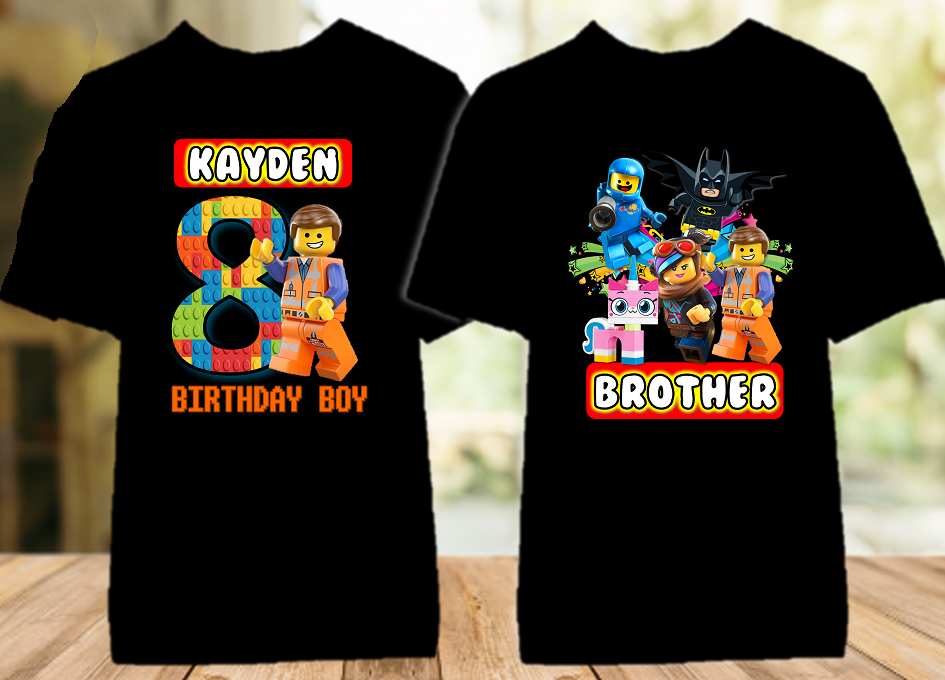 Legoland Lego Movie Emmet Birthday Party Personalized Color T Shirt - 2 Pack - LMEC2P