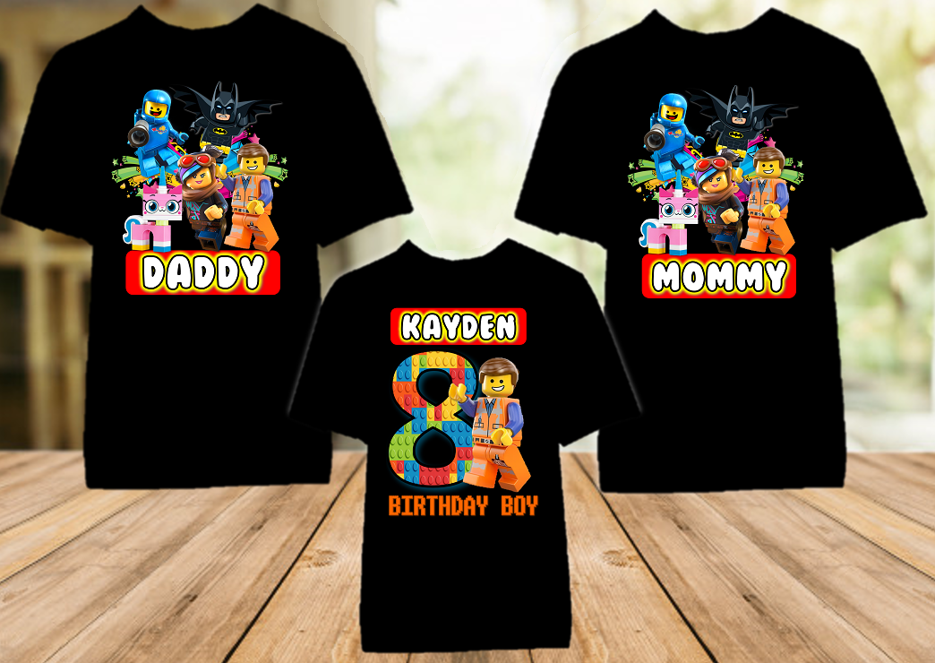 Legoland Lego Movie Emmet Birthday Party Personalized Color T Shirt - 3 Pack - LMEC3P