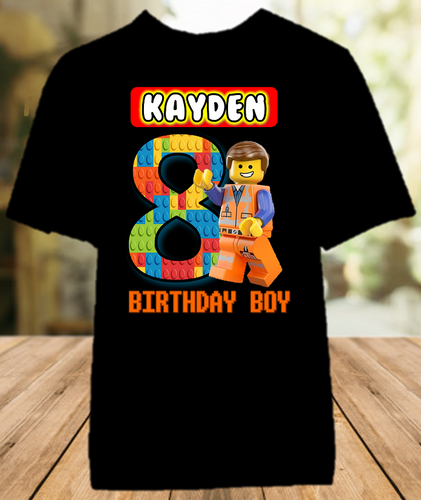 Legoland Lego Movie Emmet Birthday Party Personalized Color T Shirt - All Sizes - LMECS1