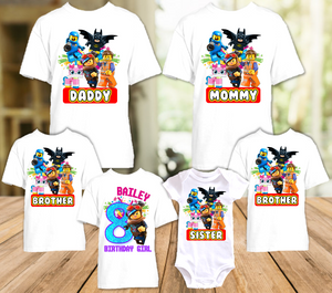 Legoland Lego Movie Lucy Wyldstyle Birthday Party Personalized T Shirt or Onesie - 6 Pack - LMW6P