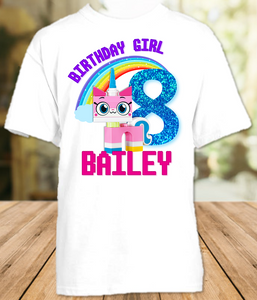 Legoland Lego Movie Unikitty Birthday Party Personalized T Shirt or Onesie - All Sizes - LMUS1