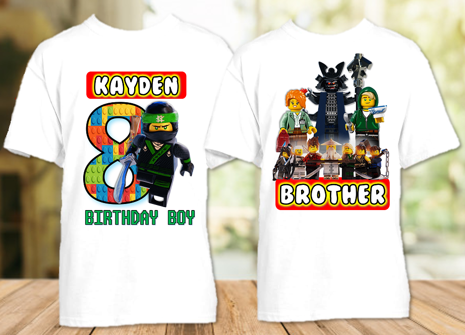 Legoland Lego Ninjago Lloyd Birthday Party Personalized T Shirt or Onesie - 2 Pack - LNL2P