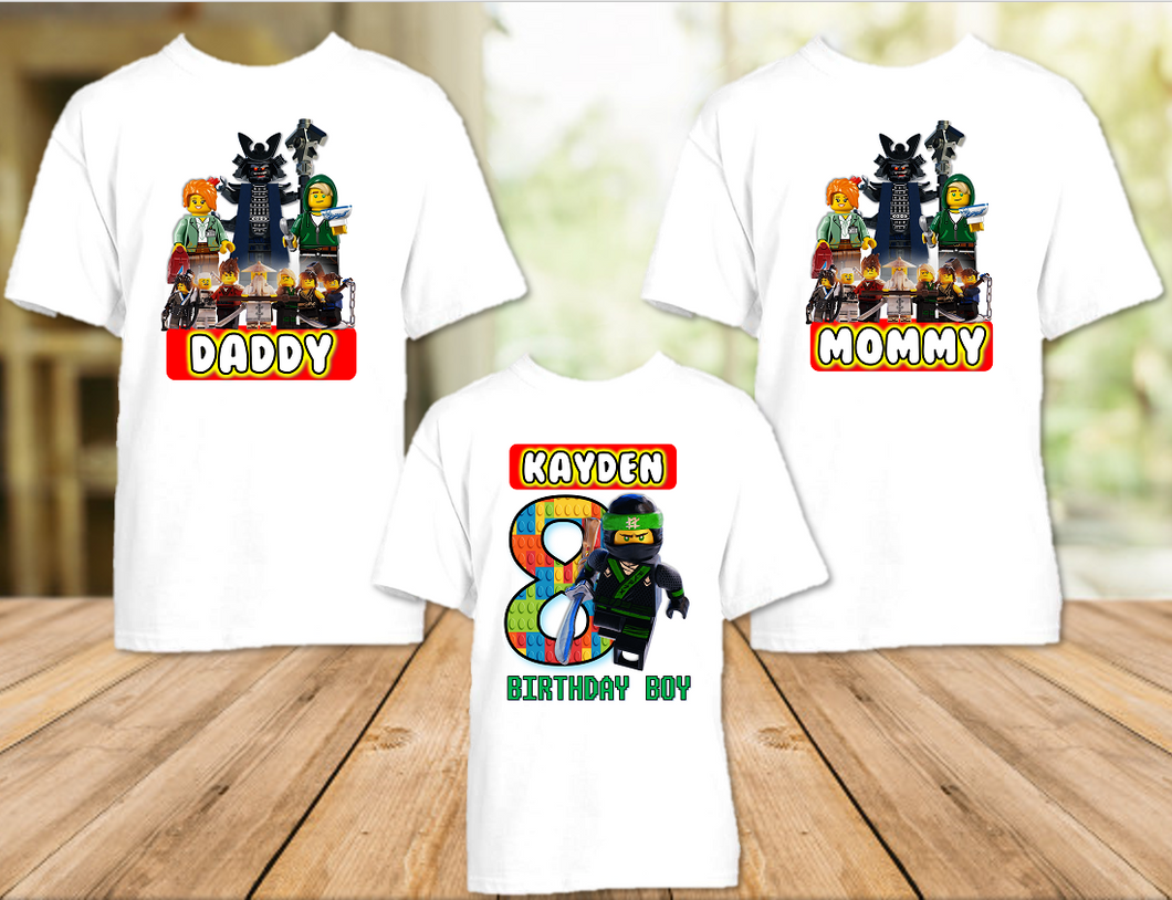 Legoland Lego Ninjago Lloyd Birthday Party Personalized T Shirt or Onesie - 3 Pack - LNL3P