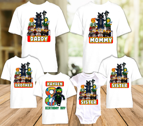 Legoland Lego Ninjago Lloyd Birthday Party Personalized T Shirt or Onesie - 6 Pack - LNL6P