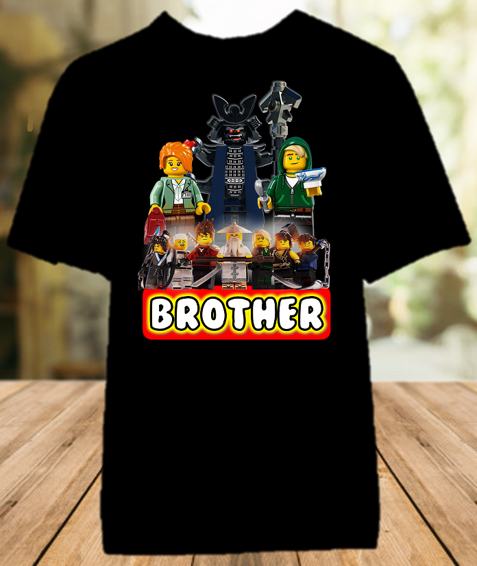 Legoland Lego Ninjago Birthday Party Personalized Sibling Brother Color T Shirt - All Sizes - LNBCS1