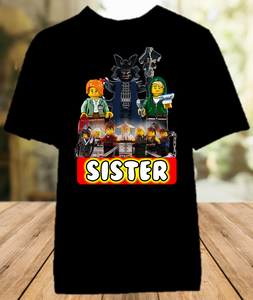 Legoland Lego Ninjago Birthday Party Personalized Sibling Sister Color T Shirt - All Sizes - LNSCS1