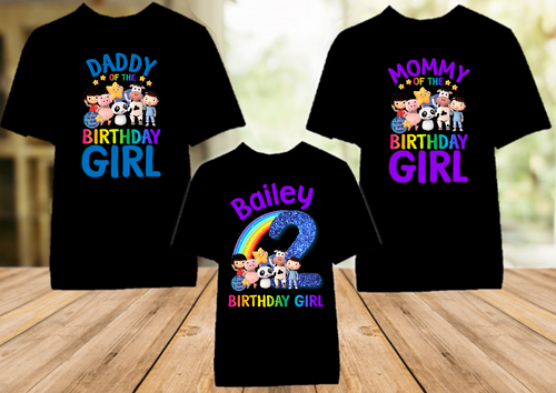 Little Baby Bum Birthday Party Personalized Color T Shirt - 3 Pack - LBBC3P