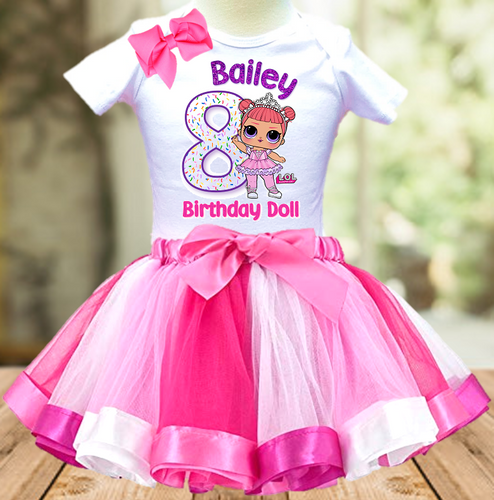 L.O.L. Surprise Dolls LOL Princess Birthday Party Personalized Ribbon Tutu Outfit - All Sizes - LSTO03