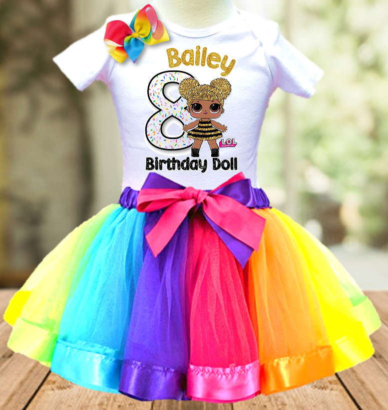 L.O.L. Surprise Dolls LOL Queen Bee Birthday Party Personalized Ribbon Tutu Outfit - All Sizes - LSTO04