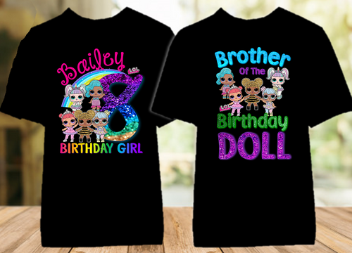 L.O.L. Surprise Dolls LOL Rainbow Birthday Party Personalized Color T Shirt - 2 Pack - LOLRC2P