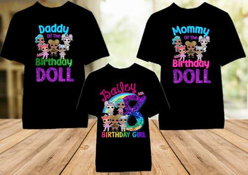 L.O.L. Surprise Dolls LOL Rainbow Birthday Party Personalized T Shirt - 3 Pack - LOLRC3P