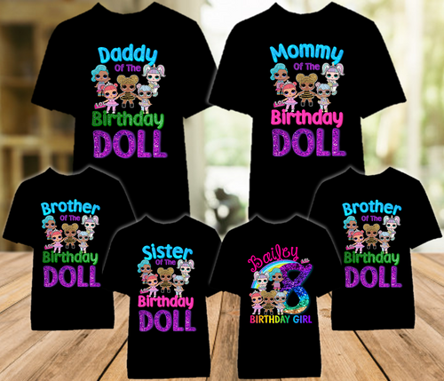 L.O.L. Surprise Dolls LOL Rainbow Birthday Party Personalized T Shirt - 6 Pack - LOLRC6P