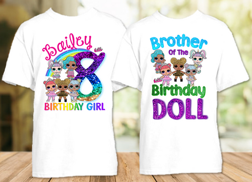 L.O.L. Surprise Dolls LOL Rainbow Birthday Party Personalized T Shirt or Onesie - 2 Pack - LOLR2P