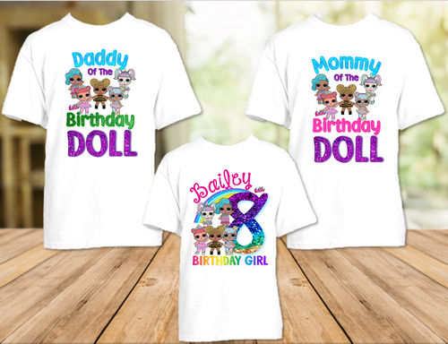 L.O.L. Surprise Dolls LOL Rainbow Birthday Party Personalized T Shirt or Onesie - 3 Pack - LOLR3P