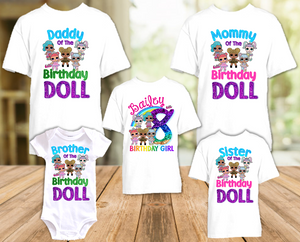 L.O.L. Surprise Dolls LOL Rainbow Birthday Party Personalized T Shirt or Onesie - 5 Pack - LOLR5P