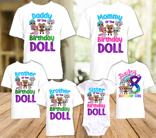 L.O.L. Surprise Dolls LOL Rainbow Birthday Party Personalized T Shirt or Onesie - 6 Pack - LOLR6P