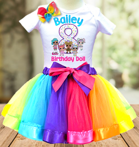 L.O.L. Surprise Dolls LOL Birthday Party Personalized Ribbon Tutu Outfit - All Sizes Available - LSTO01