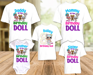 L.O.L. Surprise LOL Dolls Bon Bon Birthday Party Personalized T Shirt or Onesie - 5 Pack - LOLB5P