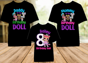 L.O.L. Surprise LOL Dolls Princess Birthday Party Personalized Color T Shirt - 3 Pack - LOLPC3P